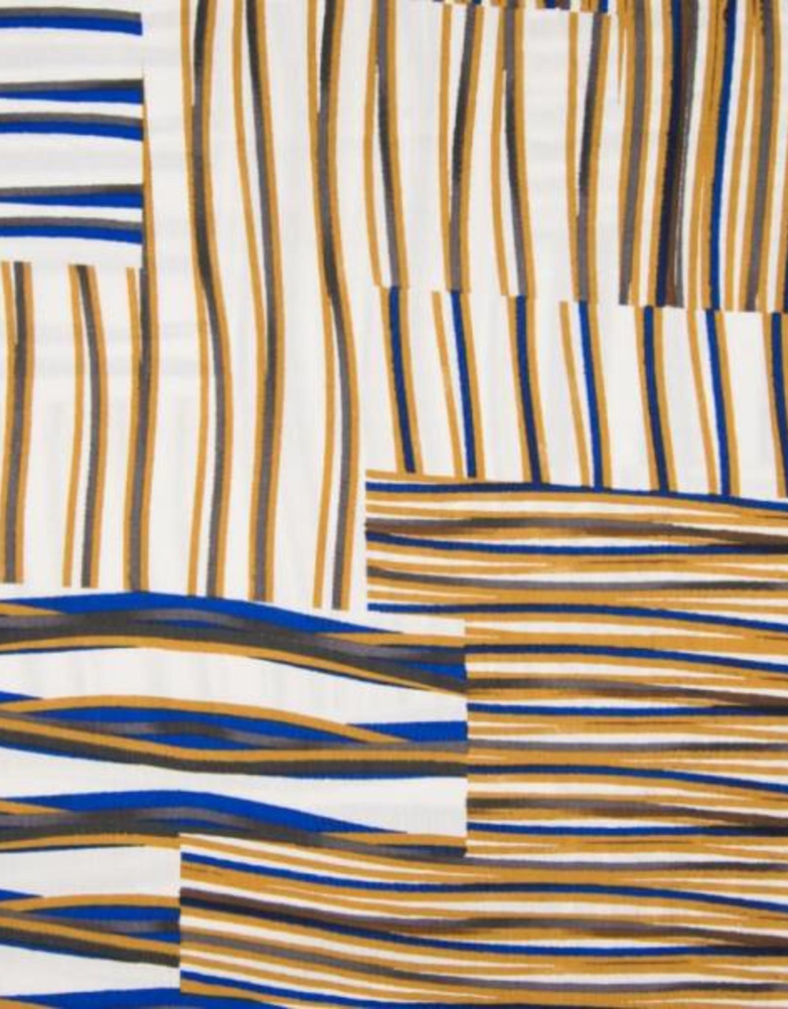 *Viscose stripes royal blauw wit bruin