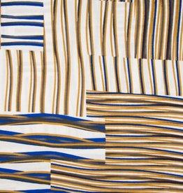 Viscose stripes royal blauw wit bruin