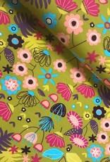 Tricot katoen flower oker