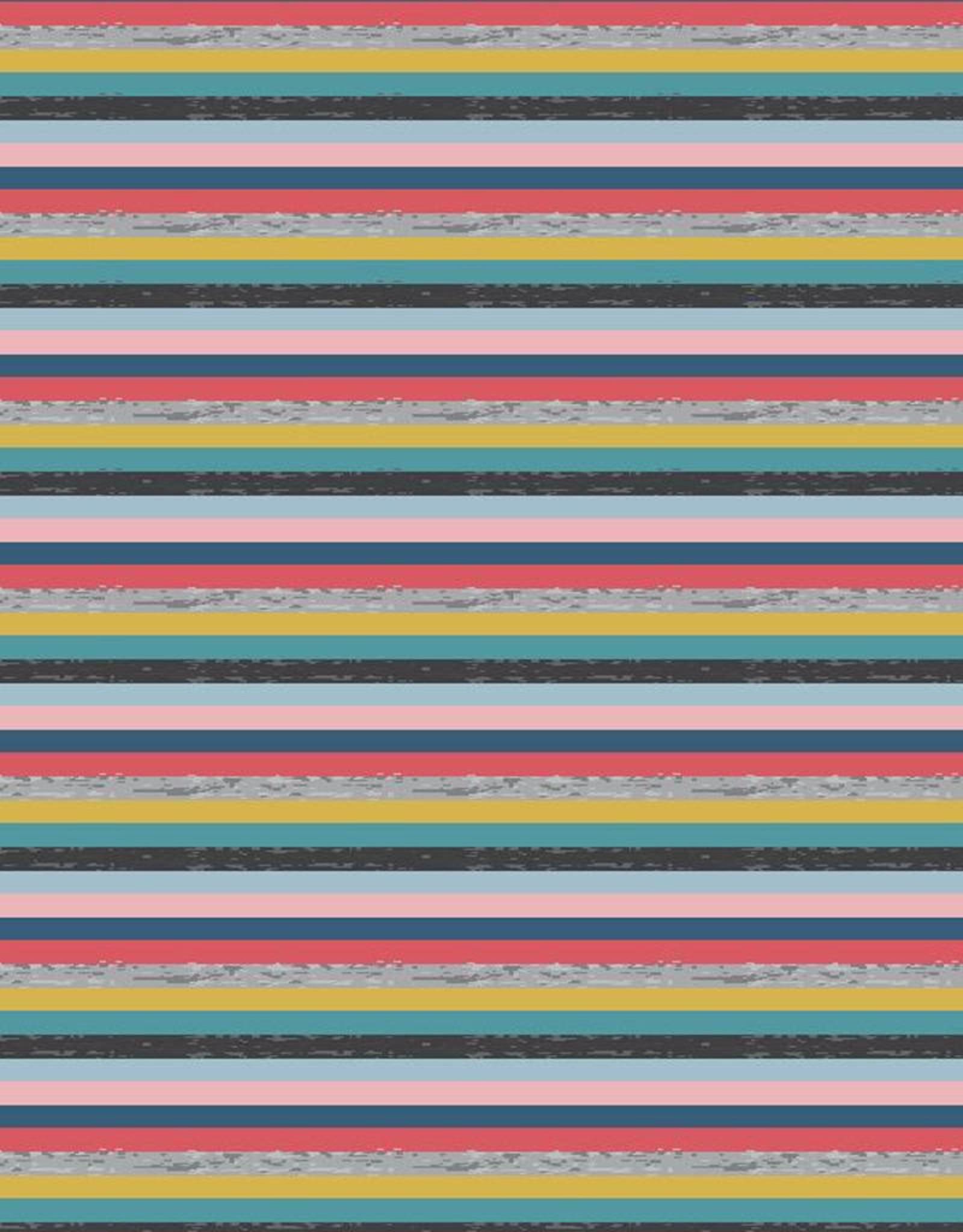 Poppy *Tricot katoen Yarn dyed stripes roze groen blauw