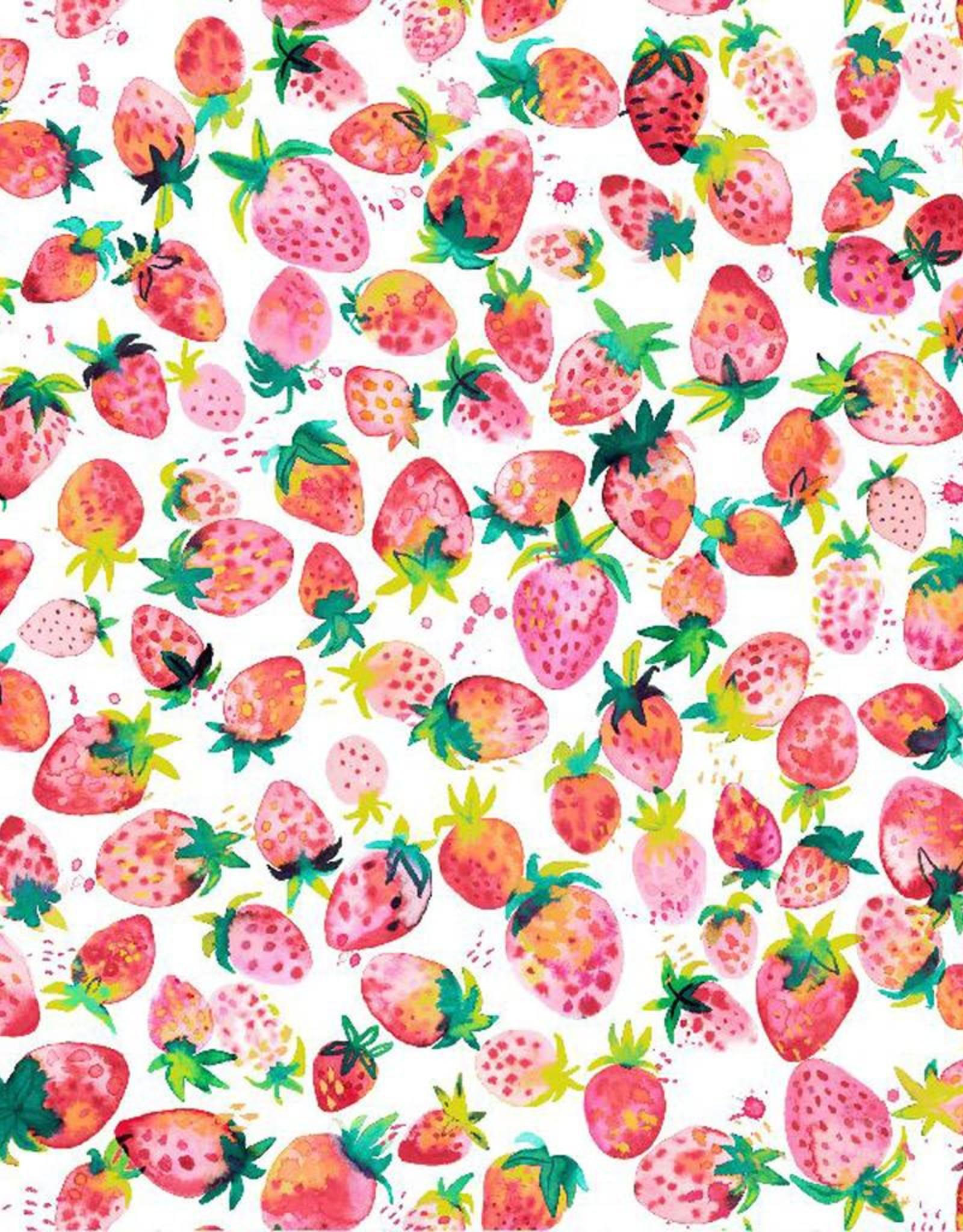 Poppy Tricot katoen Digital sweet strawberry wit roze