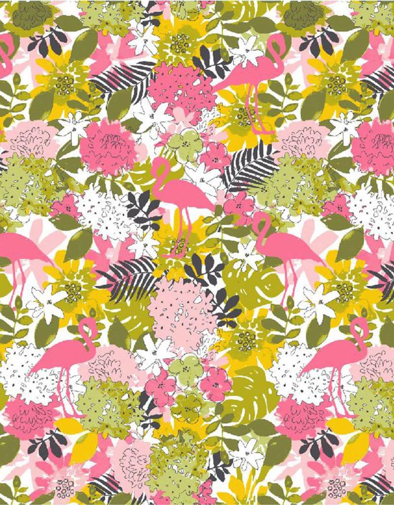 Poppy Sweat Tropical flamingo wit lime roze