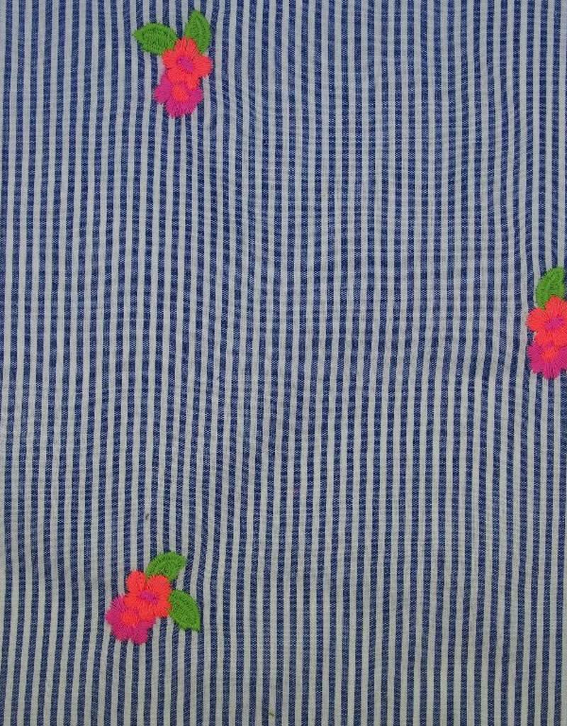 Poppy Katoen embroidery Neon wit blauw gestreept