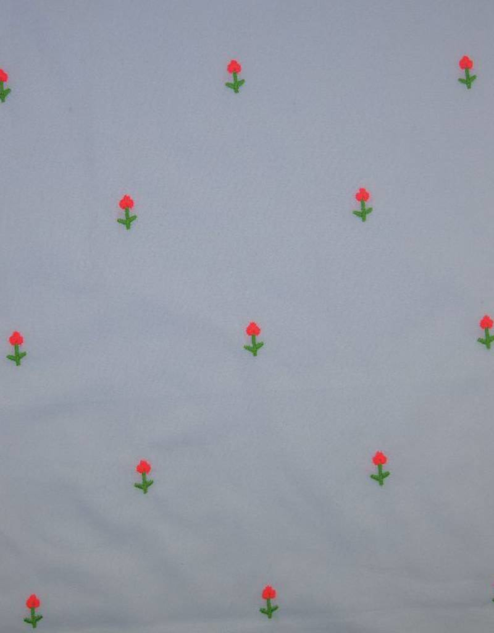 Poppy Katoen embroidery Neon wit