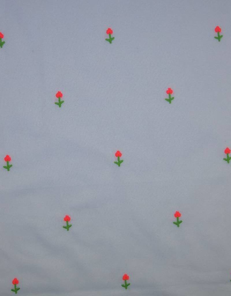 Poppy Katoen embroidery Neon wit