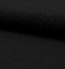 Katoen embroidery flowers black
