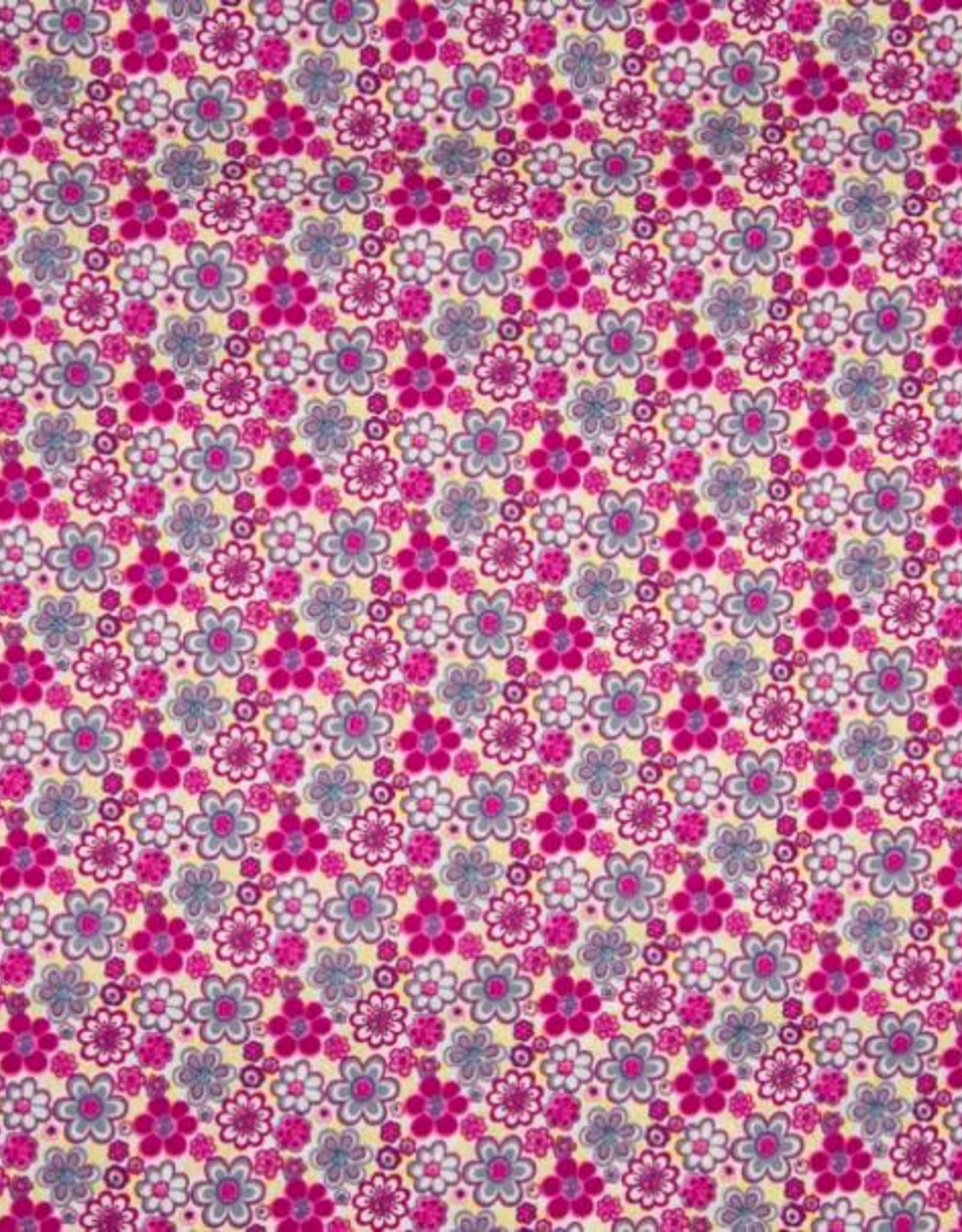 *Poplin katoen flowers fuchsia