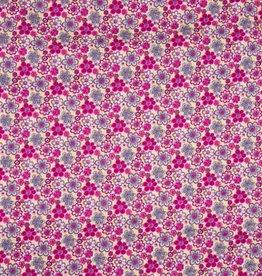 Poplin katoen flowers fuchsia