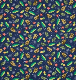 Tricot katoen leaves and pineapples navy