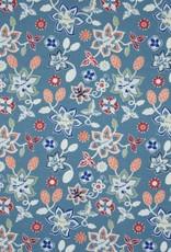 Tricot katoen flowers dusty blue