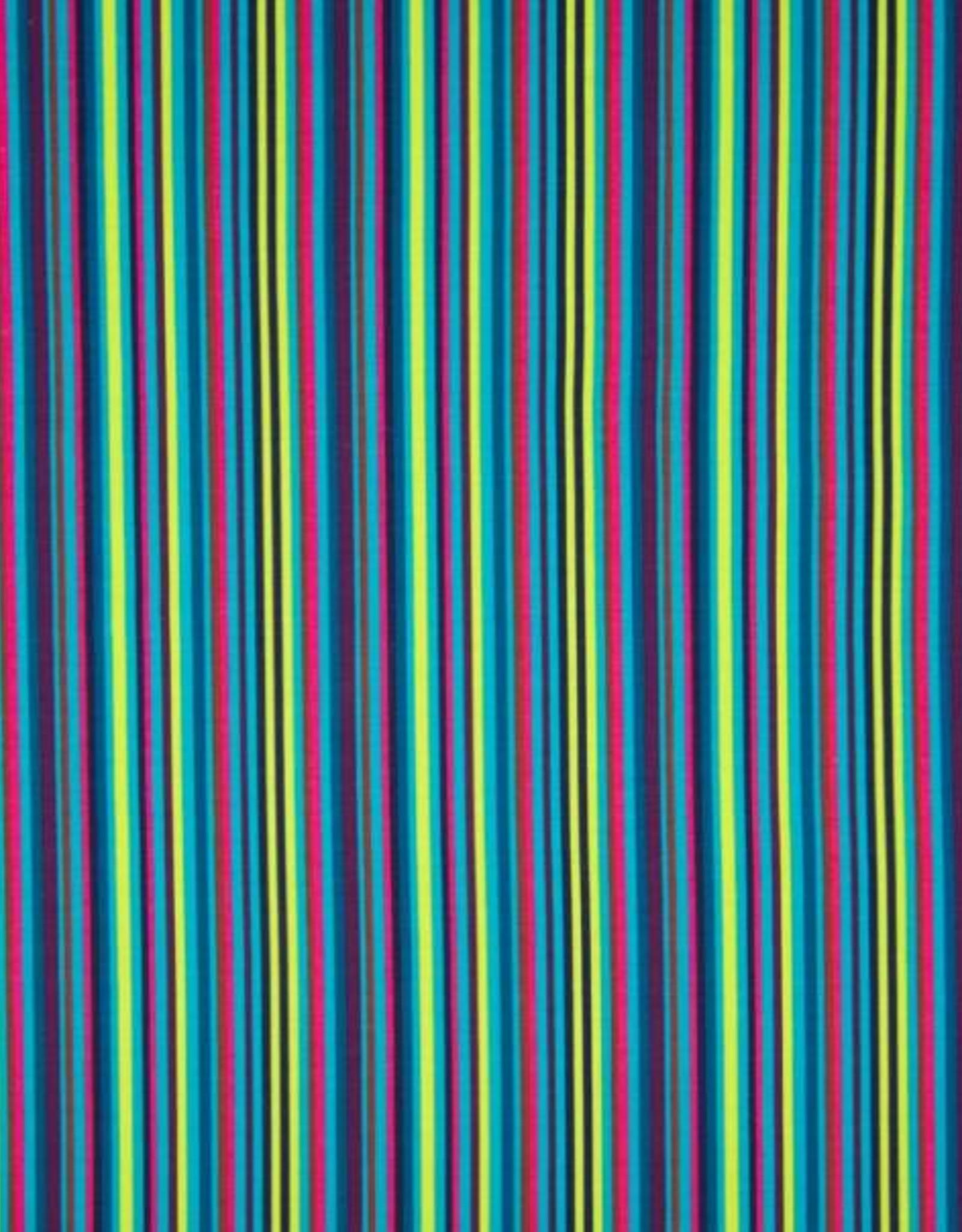 Tricot katoen folk floral stripes