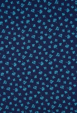 Tricot katoen folk floral leaves navy