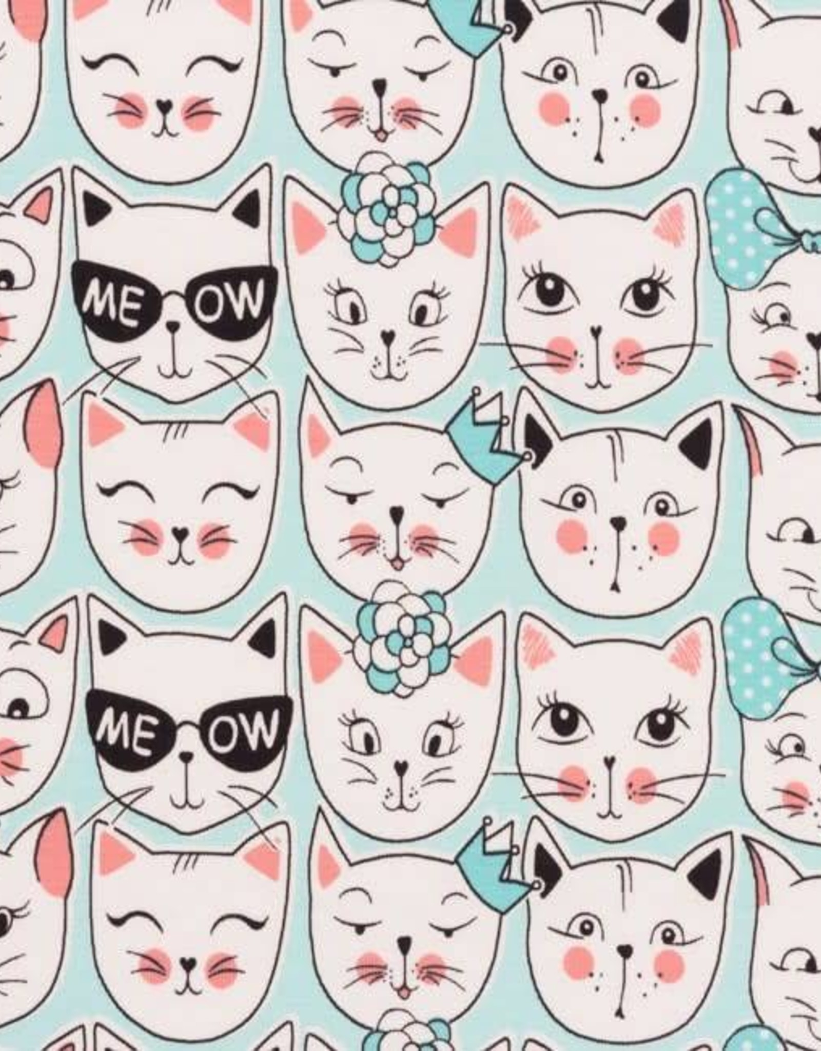 Tricot Printed Cat Faces Mint