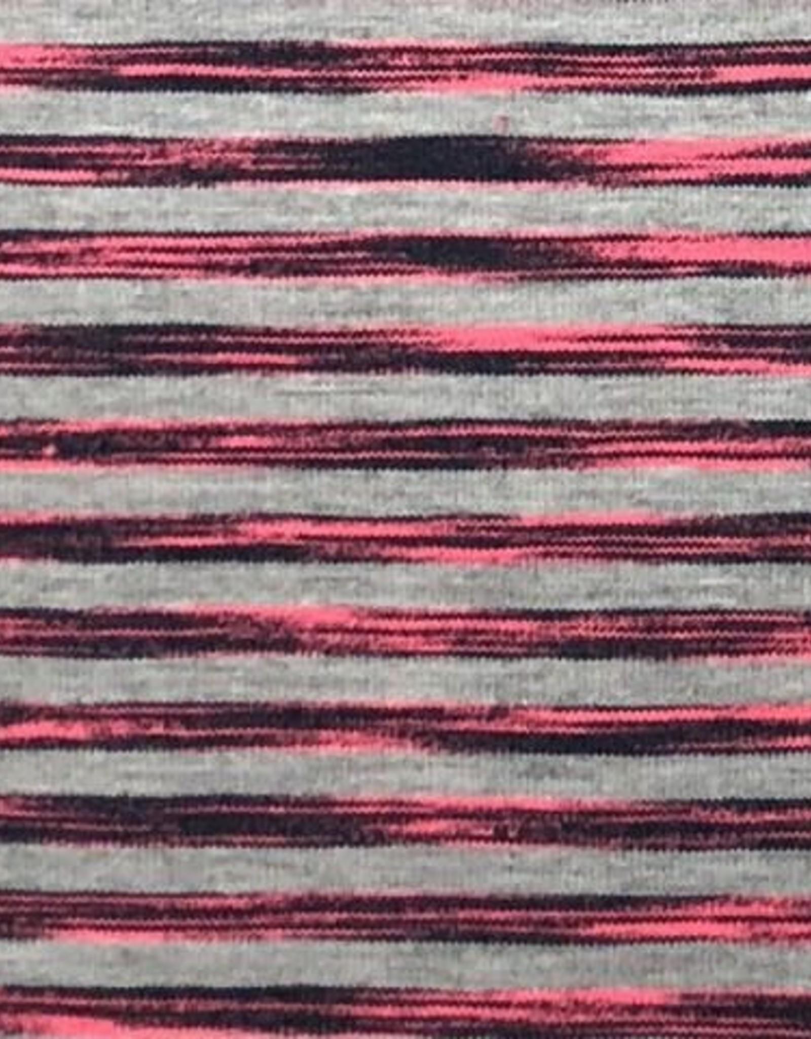 Tricot melange neon stripe roze