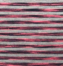 *Tricot melange neon stripe roze