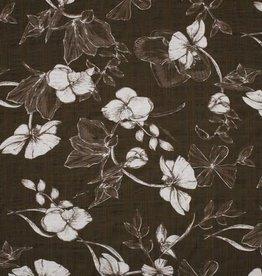 Cotton Viscose print flowers groen
