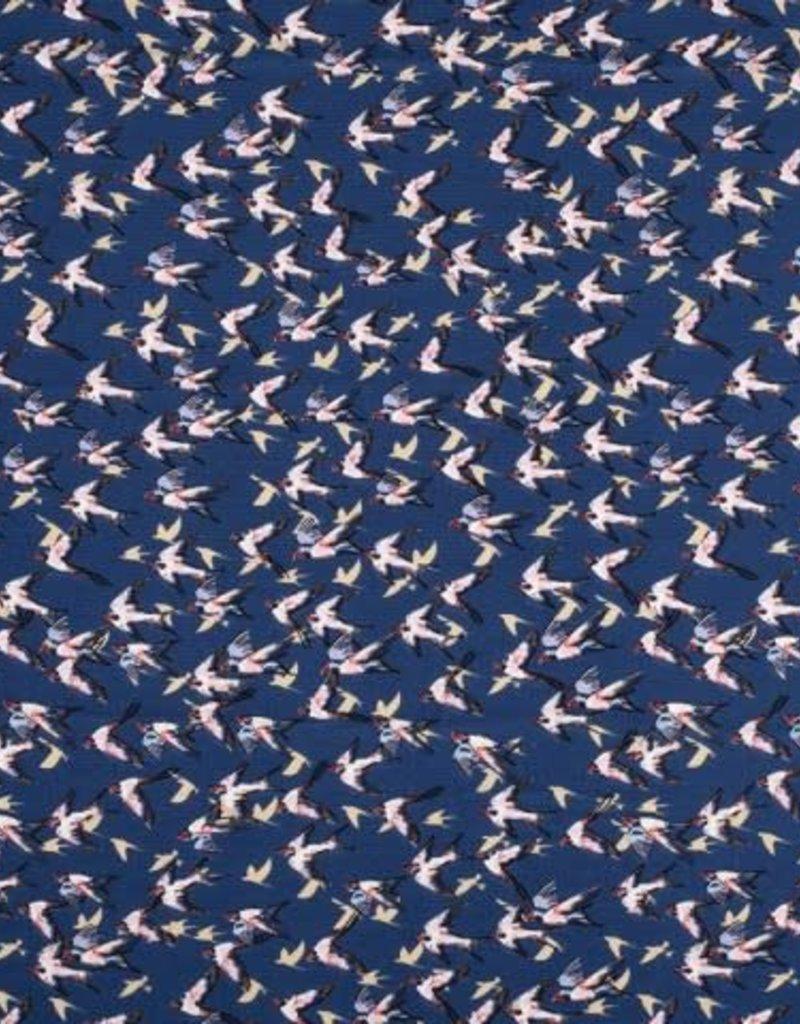 Bubble chiffon print birds blauw