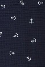 Double gauze print anchors navy