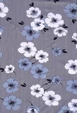 Tricot Viscose flower stripes navy