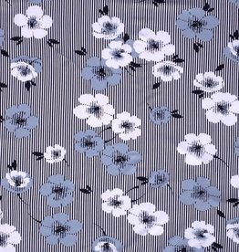 Tricot Viscose flower stripes navy