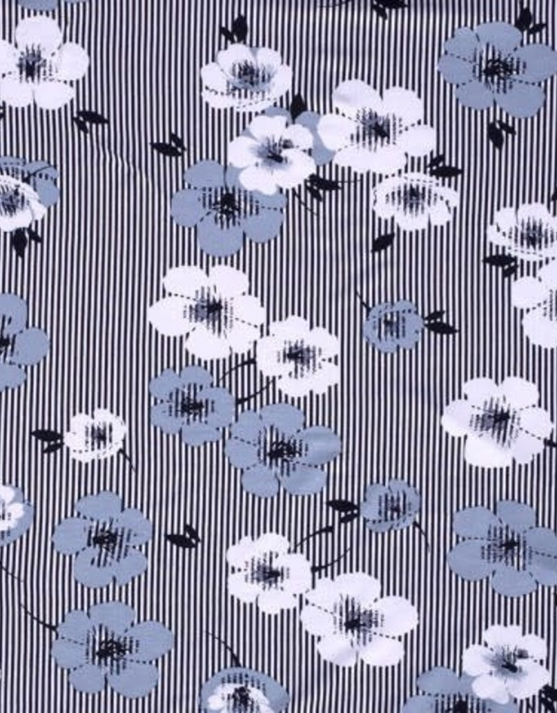 Viscose flower stripes navy