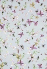 COUPON 4way spandex supersoft flowers blue 170*140cm