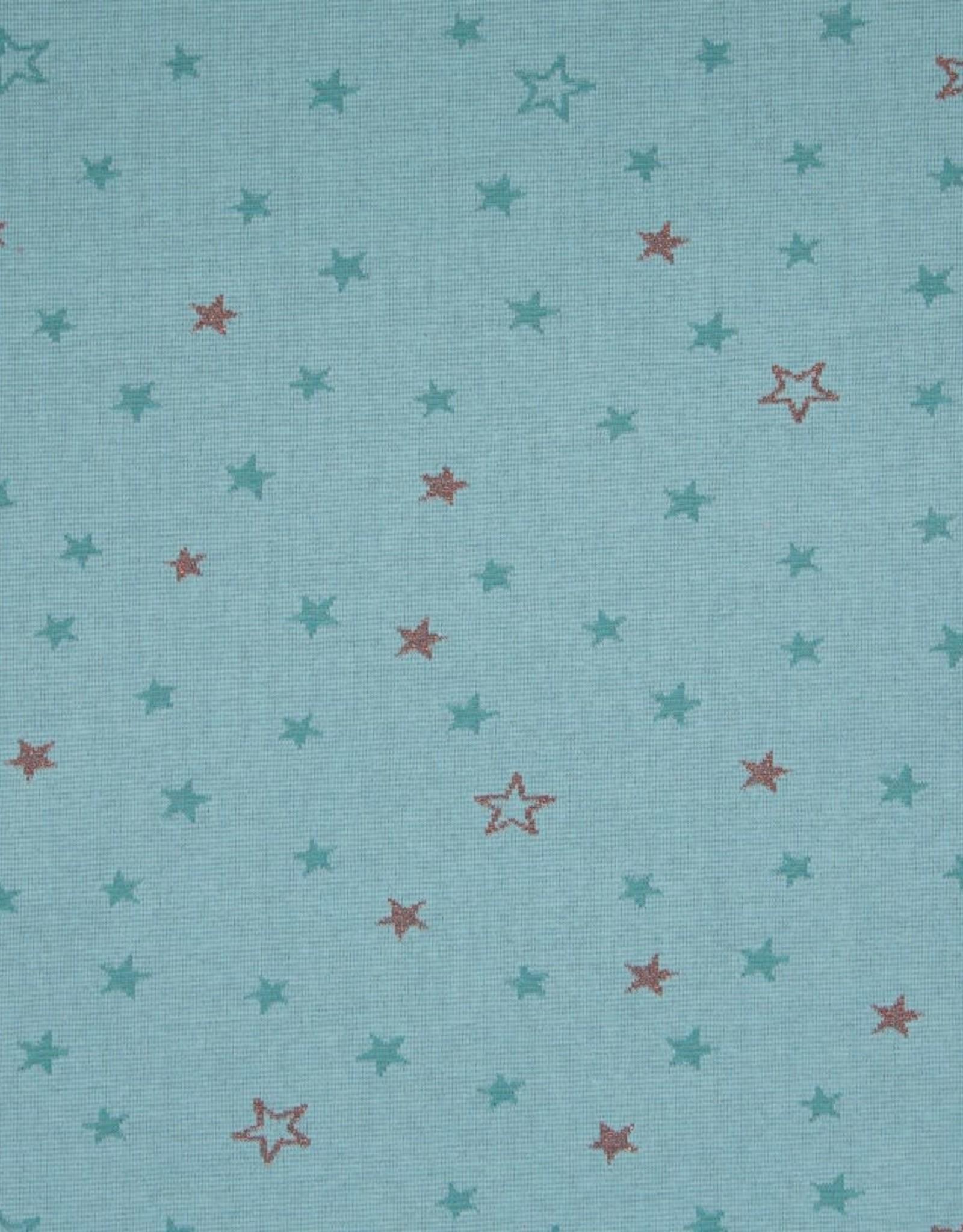 Swafing Jacquard tricot mateo stars turquoise glitter