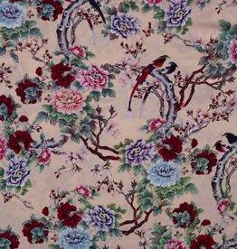 Viscose flowers and birds roze
