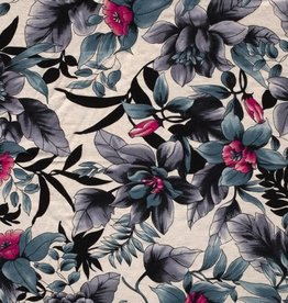 Tricot Viscose flowers wit blauw