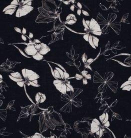 Cotton Viscose print flowers blauw