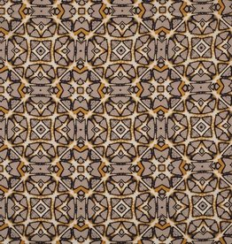 *Viscose linnen bedrukt batik oker