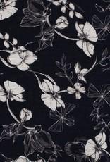 COUPON Cotton Viscose print flowers blauw 60*140cm