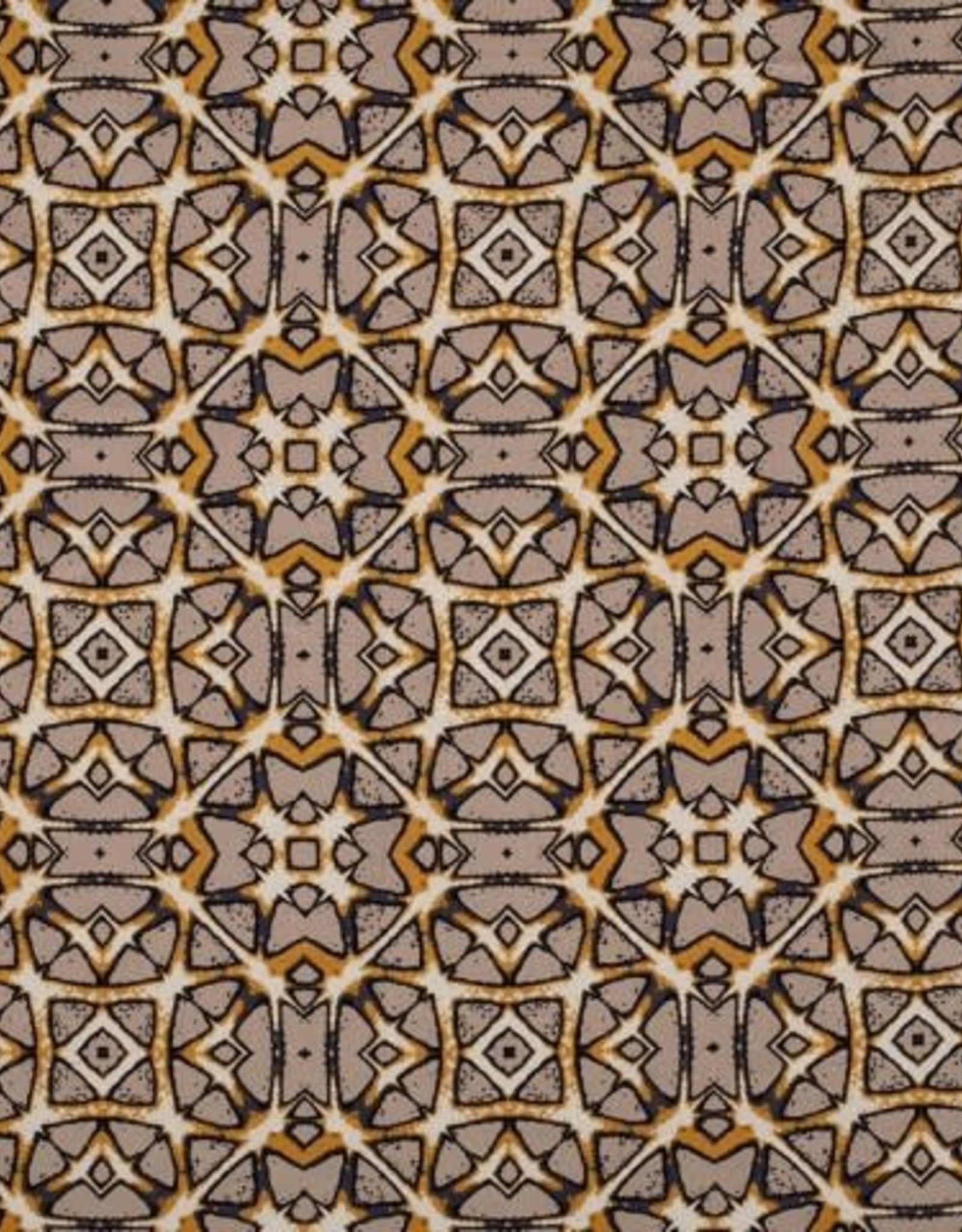 Viscose linnen bedrukt batik oker