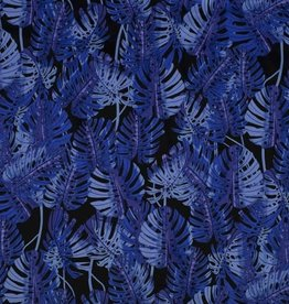 Cotton satin leaves blue