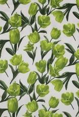 Cotton satin tulps groen