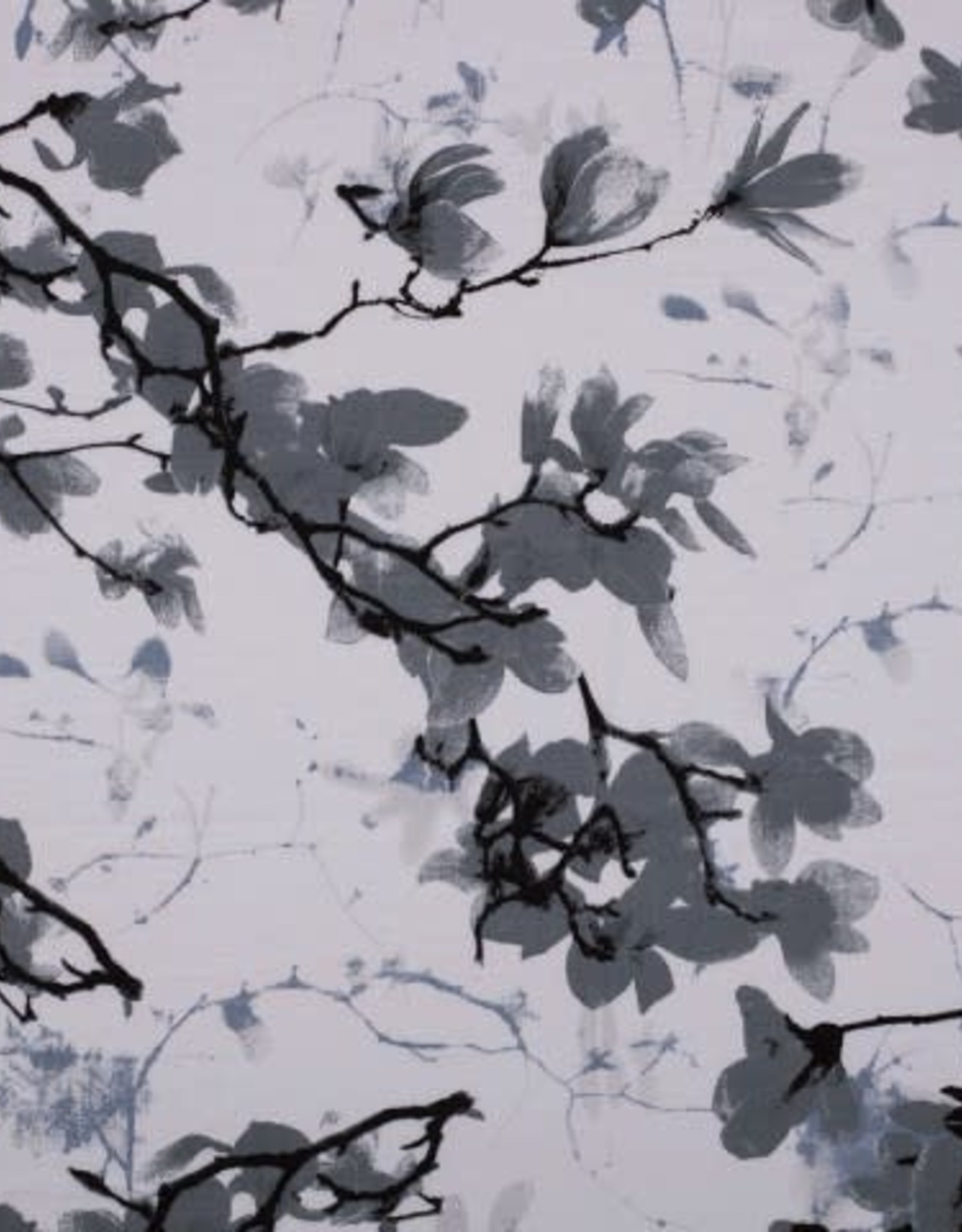 Tricot Viscose linnenlook flowers grijs