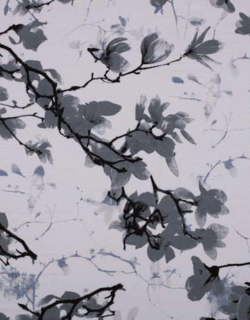 Viscose spandex flowers grijs