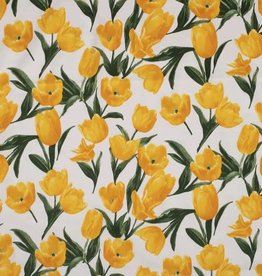 Cotton satin tulps geel