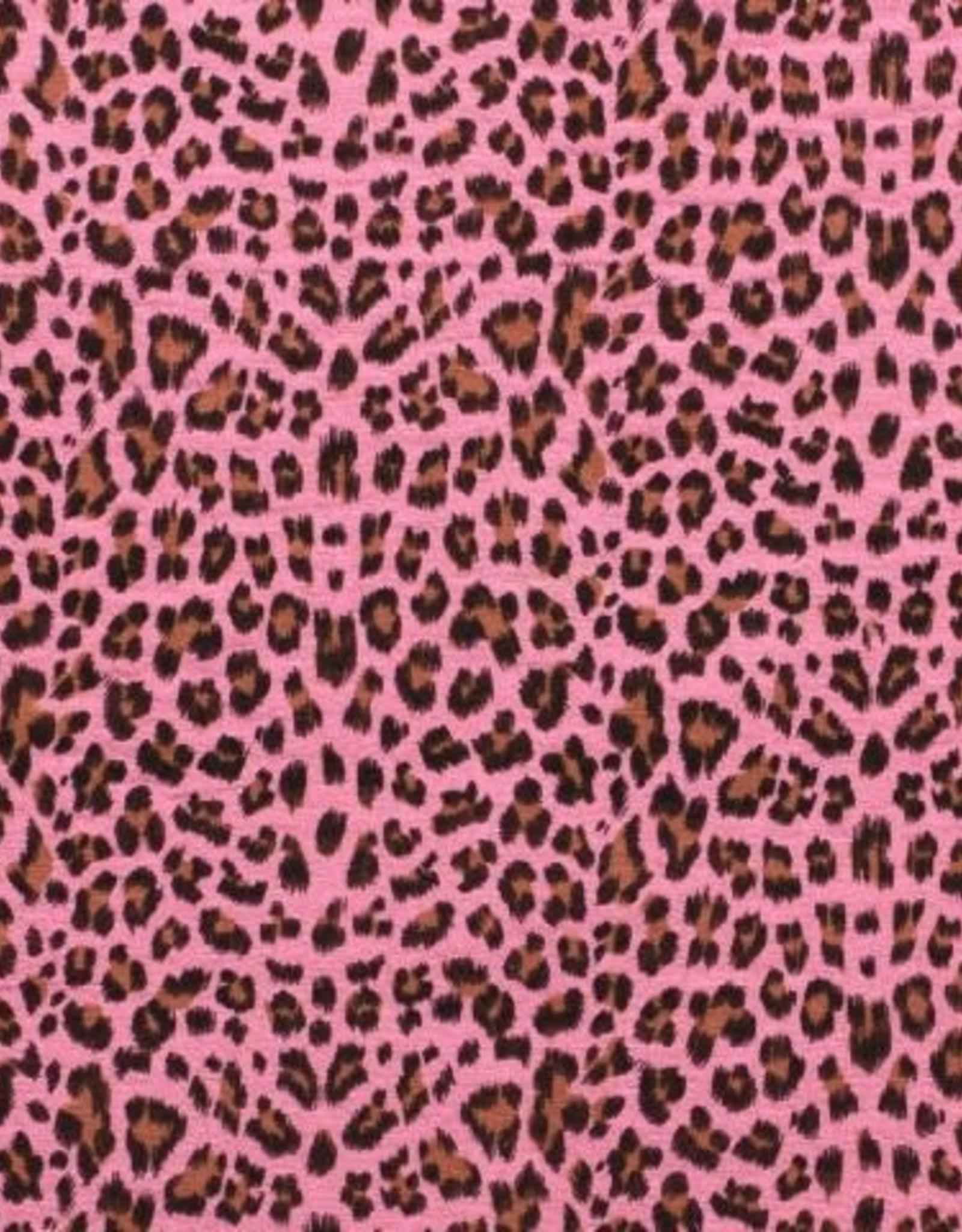 Double gauze leopard roze