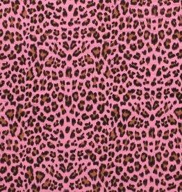 *Double gauze leopard roze