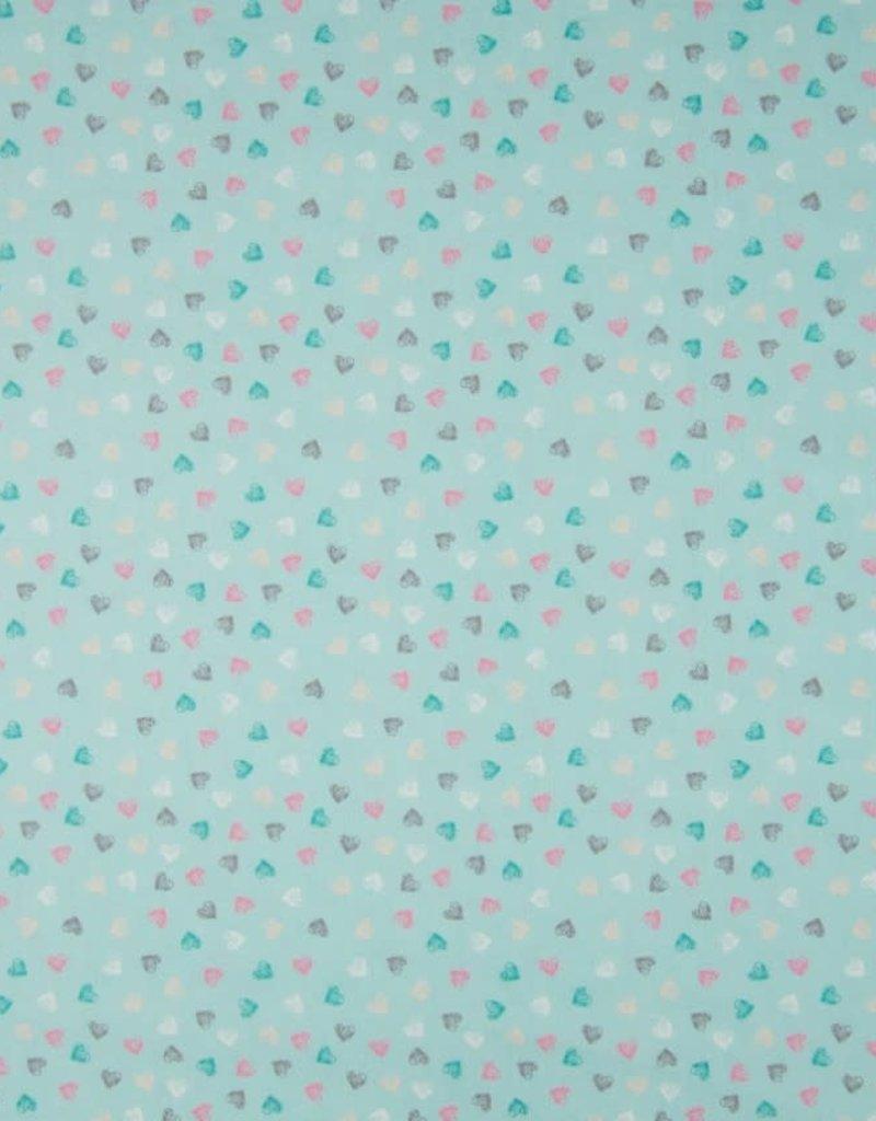 Poplin hearts dusty mint