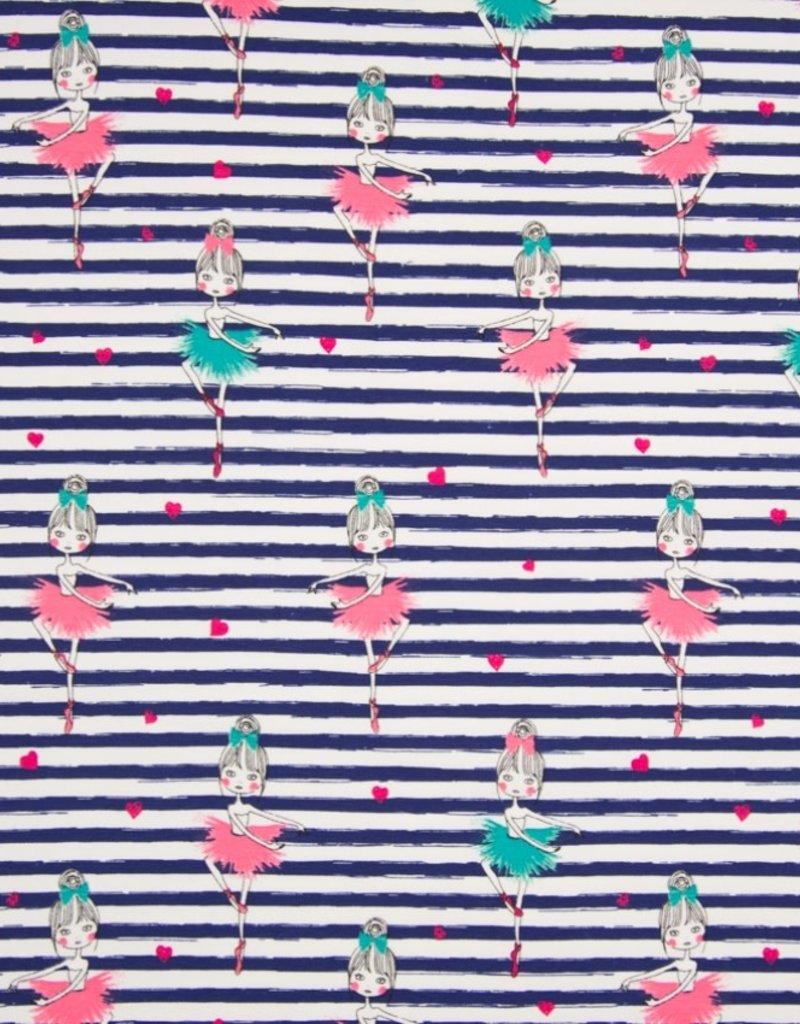Tricot Katoen stripe dancing navy