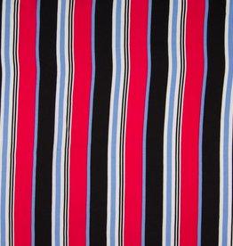 Viscose stripes black red blue