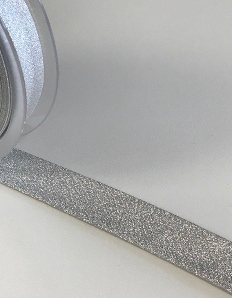 Biaisband 20mm gevouwen zilver glitter