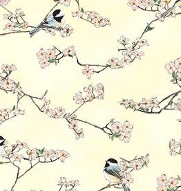 Hoffman Katoen birds sunny/silver