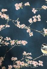 Hoffman Katoen birds dark blue/silver