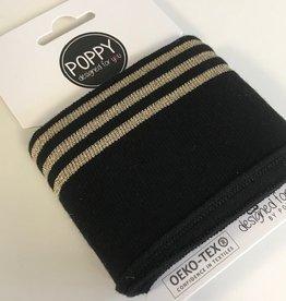Poppy Cuffs 3 strepen Lurex zwart/goud 135*7cm