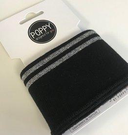 Poppy Cuffs 2 strepen Lurex zwart/zilver 135*7cm