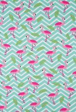 Qjutie Tricot katoen flamingo zigzag