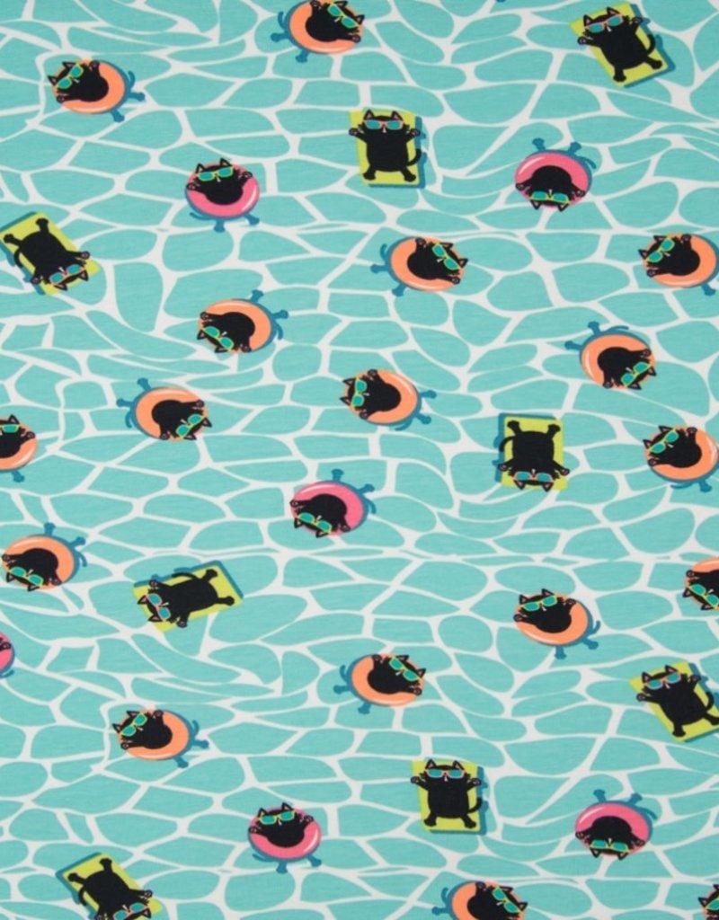 Qjutie Tricot katoen swimming cat